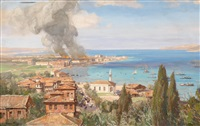 aus den kämpfen um die dardarnellen: der brand durch die beschießung der englischen flotte in ischanat-kale, ende april by georg macco