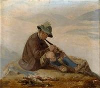 flöte spielender bub am berggipfel by carl adolf mende