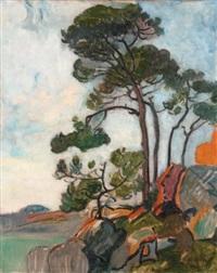 les pins sur la crique dans le midi by maurice retif
