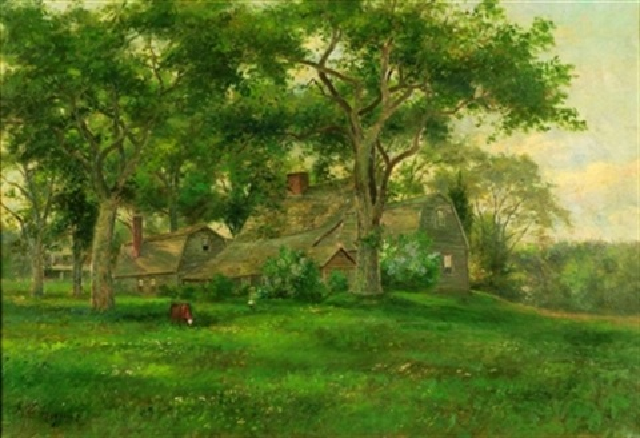 farmhouse in spring by george frank higgins