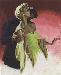 man kissing woman's neck, she swooning by earl cordrey