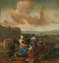 scène campagnarde avec trois femmes et un enfant by johannes lingelbach