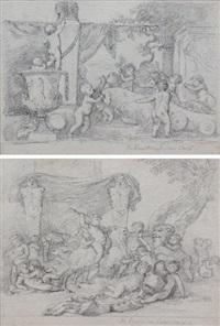 feuilles d'études d'après les bacchanales d'enfants de poussin du palais chigi (studies) (pair) by jean-robert ango