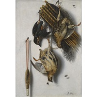 a tromp l'oeil still life with two quails, a kingfisher, a bird net and a whistle by jacobus biltius