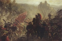 scène de bataille by eugene louis theodore glueck
