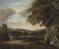 an extensive landscape, with kew pagoda and gardens beyond by patrick nasmyth