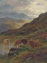 cattle watering in a highland landscape by j. bentley