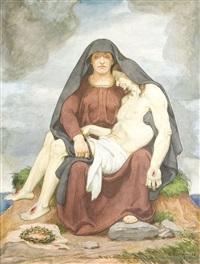 pieta (+ bleistiftzeichnung gleichen motivs; 2 works) by arthur kampf