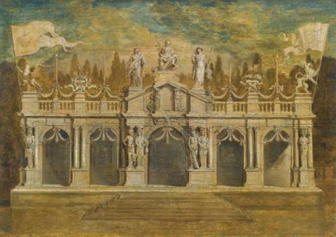 a classical loggia to celebrate the treaty of munster in antwerp july design by erasmus quellinus the younger