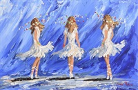 three dancers on blue by lorna millar