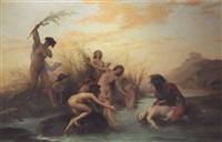 a river god rescuing a naiad by auguste barthelemy glaize