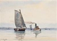 sailboats & tug by james macdonald barnsley