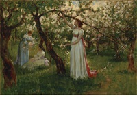 artist's daughter in a garden by douglas volk