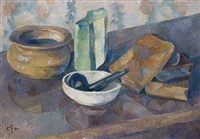 still life with pipe and books by charles gottweiss