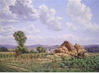 haystacks in a landscape by gustave camille gaston cariot