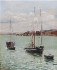 boats in an estuary by marguerite arosa