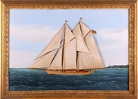 two-masted racing schooner at sea by thomas h. willis