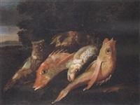 natura morta con pesci in un paesaggio by elena recco
