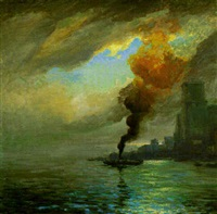 after the storm, new york harbor by charles vezin