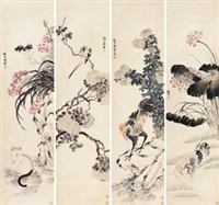 花鸟 (birds and flowers) (in 4 parts) by sima zhong