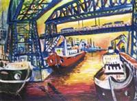 shipping under bridges, sunset by edgardo nelson rodriguez