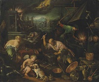 the element of fire: vulcan's forge by francesco bassano