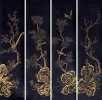 花鸟 (in 4 parts) by jiao bingzhen
