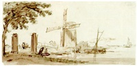 river landscape with a windmill, and a tree to the left by hendricus spilman