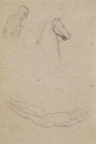 feuille d'études recto-verso, d'après les maîtres anciens (study) (recto/verso) by edgar degas