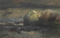 a snowy haystack by george inness