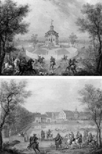 view of jagdschloss kranichstein with a stag hunt  view of jagdpavillon dianaburg, with a stag hunt by georg adam eger