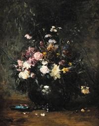 bouquet de fleurs sur un entablement by louis appian