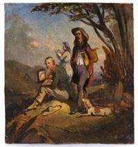 trois artistes sur le motif by camille joseph etienne roqueplan