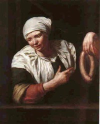 portrait of a young woman wearing a bonnet at a window, holding a sausage by jan van pee
