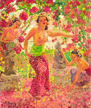 balinese women surrounded by flower blossoms by adrien jean le mayeur de merprés