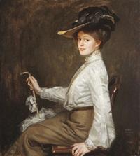 portrait einer dame in weißer bluse by rudolf weber
