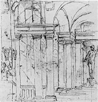 a design for a colonnade housing a statue by giuseppe valeriani
