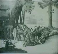 four hunt scenes: des waidmanns herbst; ...winter; fruhling;...sommer by jose krasa