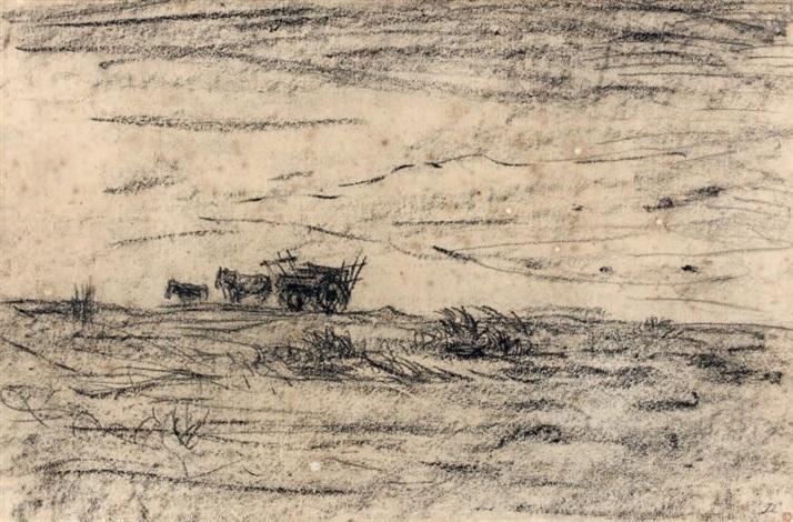 paysage à la charrette by charles françois daubigny