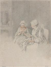 deux femmes cousant dans un intérieur by jacques-andré portail