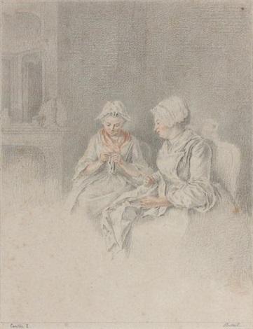 deux femmes cousant dans un intérieur by jacques andré portail