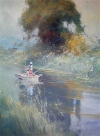 fishing on the river by robert hagan