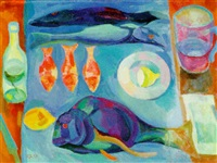 still life with fish and lemons by lidia khanamiryan