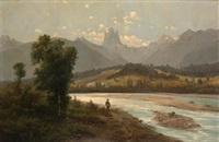 paisaje con rio y montañas by alfred godchaux