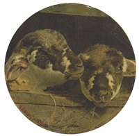 two lambs in a barn by william j. (webbe) webb