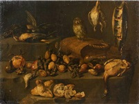 nature morte de fruits et de volailles animée d'une chouette by felice boselli