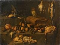 nature morte de fruits et de volailles animée d'une chouette by felice boselli