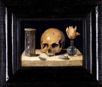 a vanitas still life with a skull, an hour-glass, a tulip in a glass vase, a shell and butterfly, all resting on a stone ledge by jacques linard