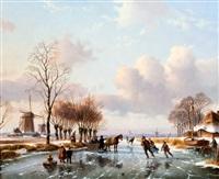winterlandschap met schaatsenrijders by anton karssen