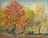autumn landscape with country house by samuel george phillips